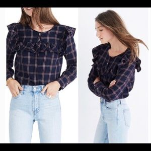 Madewell Plaid Ruffle Yoke Shirt